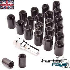 20x BLACK STEEL WHEEL TUNER NUTS M12x1.25 fits SUBARU NISSAN SUZUKI PEUGEOT