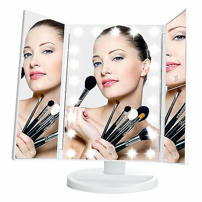 LeJu Lighted Vanity Mirror with 21 LED Lights, Touch Screen and 3X/2X/1X White