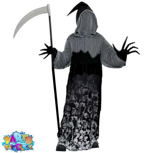 Boys Dark Shadow Creeper Costume Kids Grim Reaper Halloween Teen Fancy Dress