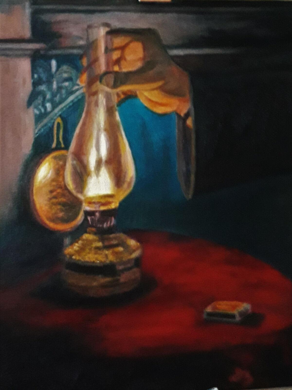Bild -  Original Ölgemälde signiert  - Gemälde 70x50cm  Öllampe