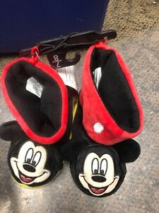 New Disney Mickey Mouse Boys Slippers Size 7 8 Shoes Kids