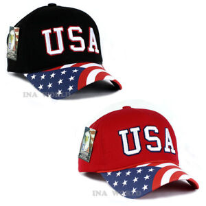5eb6542e6df USA American Flag hat Foam cap Stars and Stripes Flag Curved bill ...