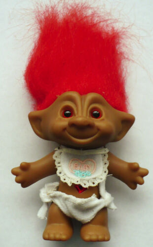 "4 12"" ACE BABY TROLL RED HAIR WITH BIB RED JEWEL BELLY"