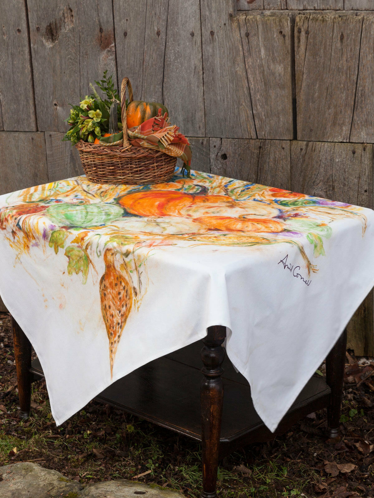 April Cornell Tablecloth Pumpkins Pheasants WaterCouleur Collection 54x54 NWT