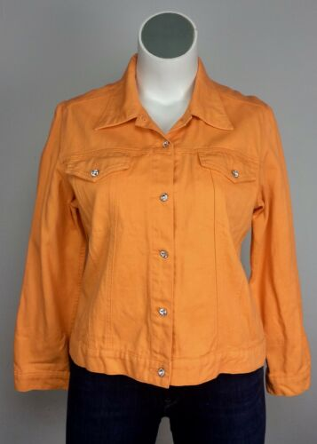 Alexander Jacket L Button Blazer Denim Christine Gem Rhinestone Orange Bomuld 6Swddpq