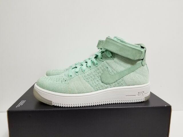 timeless design 409e9 ab14f Nike Women's Air Force 1 One Af1 Flyknit Mid Enamel Green 818018-301 Size 7