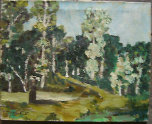 :: Signed with Prince? Forest Trail Summer Lake Shore Birch Sun Green Antique