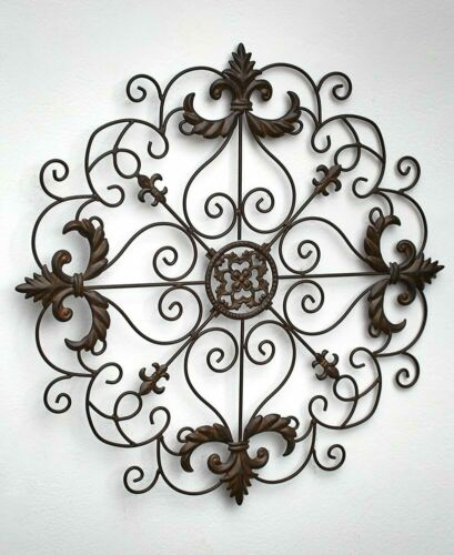 """BRONZE Scrolled Metal Wall Medallion 21/"""" Round or 30/"""" Oblong Dining Living Decor"""