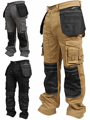 Mens Work Trousers Cordura Knee Working Pants Cargo Combat Worker Safety Pockets