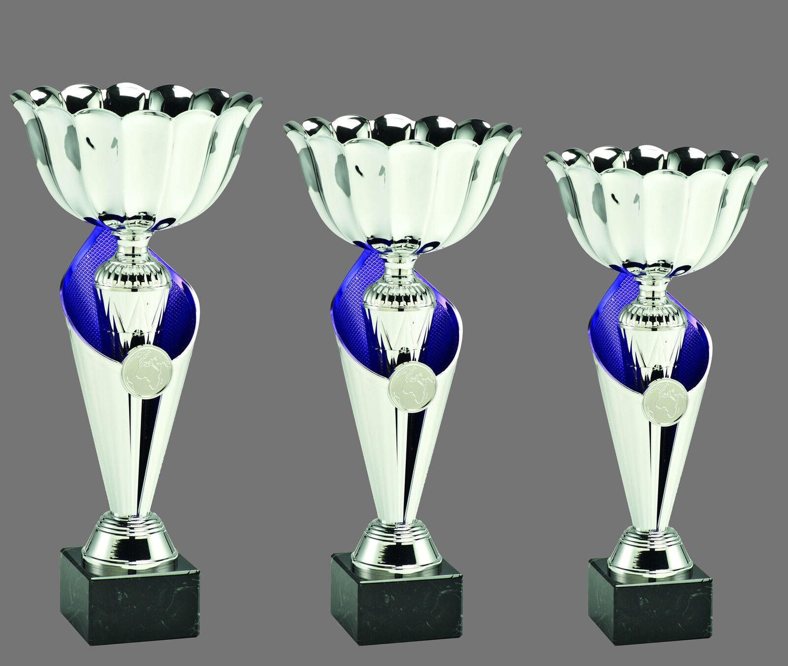 Moderna Moderna Moderna 3er-Coppa Serie incl. incisioni e emblemi argentoo-Blu | benevento  ebe6f0