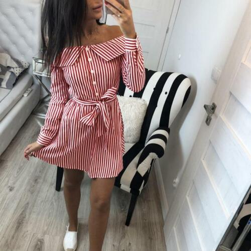 Summer Long Sleeve Women Shirt Off Shoulder Bow Tie Plaid Short Wrap Dress JJ