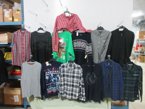 13 LARGE MENS SHIRTS CLOTHES LONG SLEEVE BUTTON DOWN STAR WARS ZIPPER HOODIE LOT for cheap