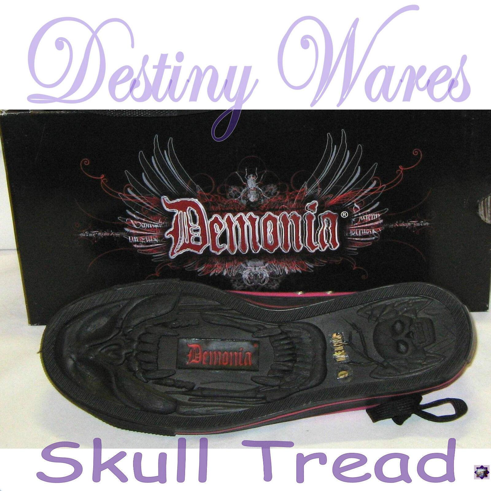 Demonia schwarz schwarz schwarz & Rosa PINSTRIPE CANVAS Zip up Low top Turnschuhe Sz 7 Lady Mens Sz 5 e81297