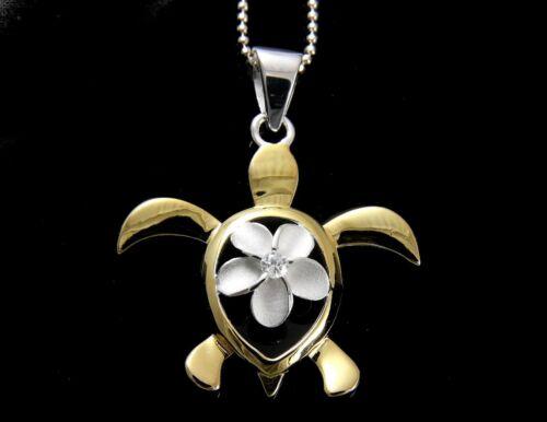 SILVER 925 HAWAIIAN PLUMERIA FLOWER YELLOW GOLD PLATED HONU TURTLE PENDANT