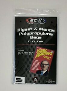 "BCW DIGEST & MANGA POLYPROPYLENE BAGS 100 Count NEW 6"" x 7 5/8"" + 2"" Flap"
