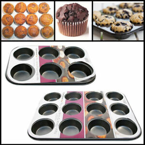 2 NON STICK 6 CUP BAKING PAN TRAY TIN CUPCAKE CAKES YORKSHIRE PUDDING MUFFIN BUN