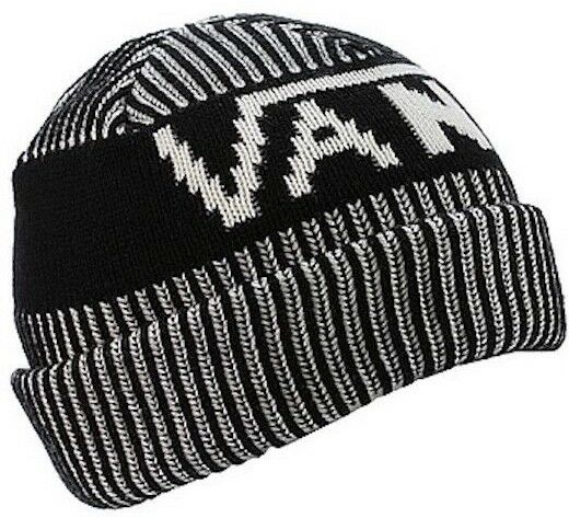Buy VANS off The Wall Stripe Cuff Knit Beanie Black and White 100 ... 4fea56d6f4dd