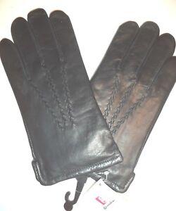 Large Grandoe 100/% Cashmere Lined Leather Gloves,Brown
