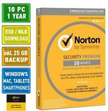 Norton Security 3.0 PREMIUM 10 PC 1 Jahr 2017 Mac Android + 25 GB Online Backup