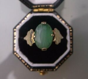 Women-039-s-9ct-Gold-JADE-Solitaire-Ring-Weight-1-9g-Size-L-1-2-Quality-Ring-Stamped