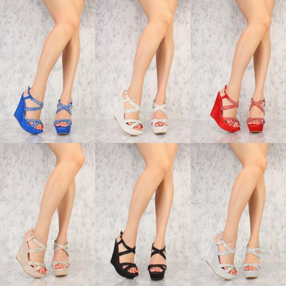 Colorful Shimmer Gladiator Rhinestone Platform Wedge High Heel Gladiator Shimmer Sandals Size W40 9cbd55
