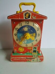 Fisher-Price-Music-Box-Teaching-Clock-1968-WORKS-Toy-Vintage