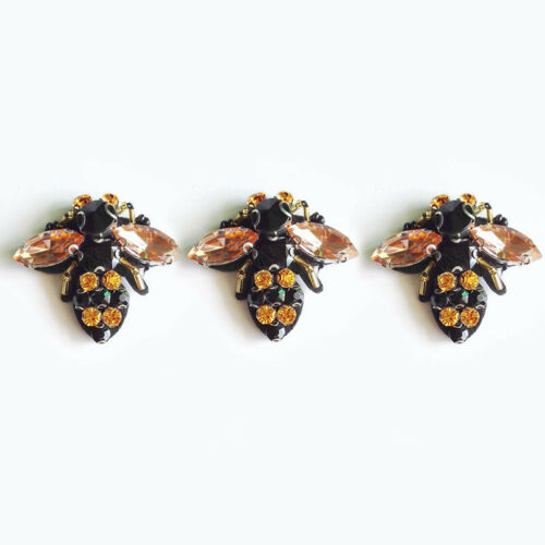 3Pc Bee Sequins Patches Bead Rhinestones Embroidered Applique Sew on Patch Craft