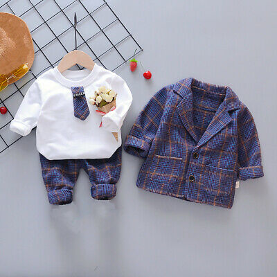 2x Toddler Baby Girls Ruffle Shirt Pants Outfits Tops Plaid Trousers Clothes Set