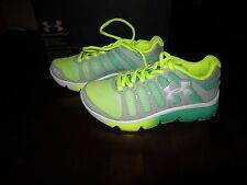 New Girls Green & Yellow Under Armour GGS Micro Pulse 2 Fade Tennis Shoes 5