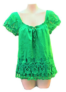 Anthropologie-Lu-Lu-Lame-Green-Eyelet-Blouse-Women-Junior-Size-XS-100-Cotton