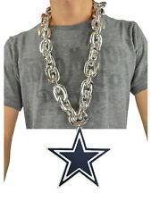 New NFL Dallas Cowboys SILVER Fan Chain Necklace Foam Magnet - 2 in 1