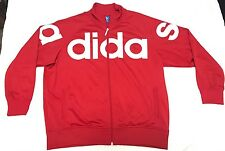 Vintage adidas Red Full Zip Firebird Track Jacket HUGE Trefoil Logo Spellout 2XL