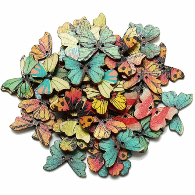 50pcs 2 Holes Mixed Butterfly Wooden Button Sewing Scrapbooking DIY Craft T1