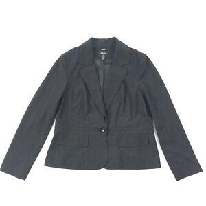 Style & Co Blazer SIZE 14 Womens Black Print 1 Button Fitted Jacket L XL EUC
