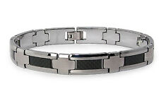 "Tungsten Carbide w/ Black Carbon Fiber Inlay Mens Biker Bracelet 8.5"""
