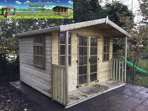 image is loading 8x8 apex georgian summerhouse with 2ft veranda garden