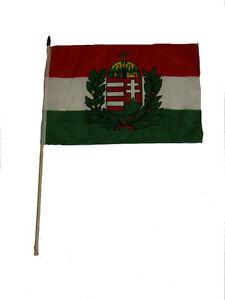 12x18 30.5cmx45.7cm Hongrie Crest Bâton Drapeau Bois Personnel