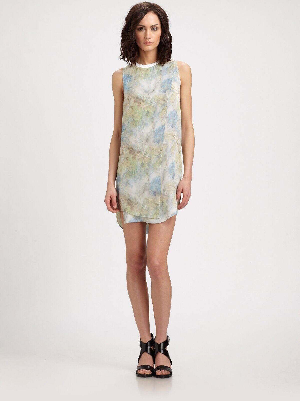 Theyskens' Theory Derious Itrey Sleeveless Silk Dress Mini Shift Grün Blau S 4