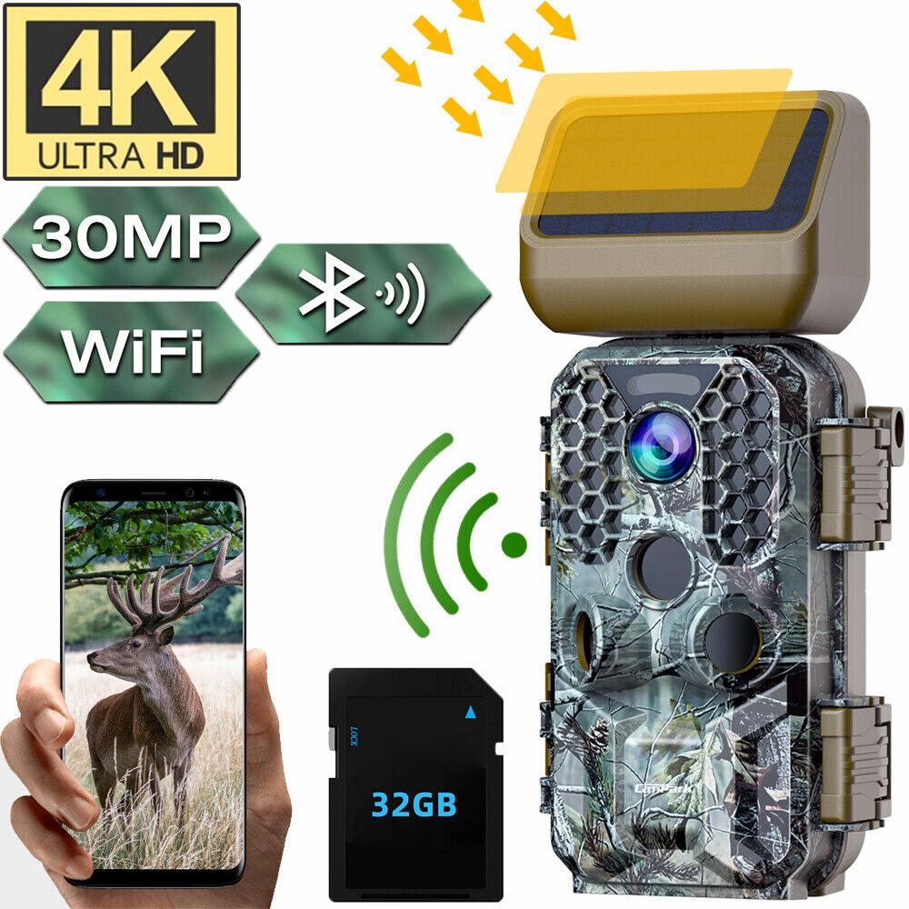 4K Solar Wildkamera Bluetooth WiFi 30MP Jagdkamera Fotofalle IR Nachtsicht Video