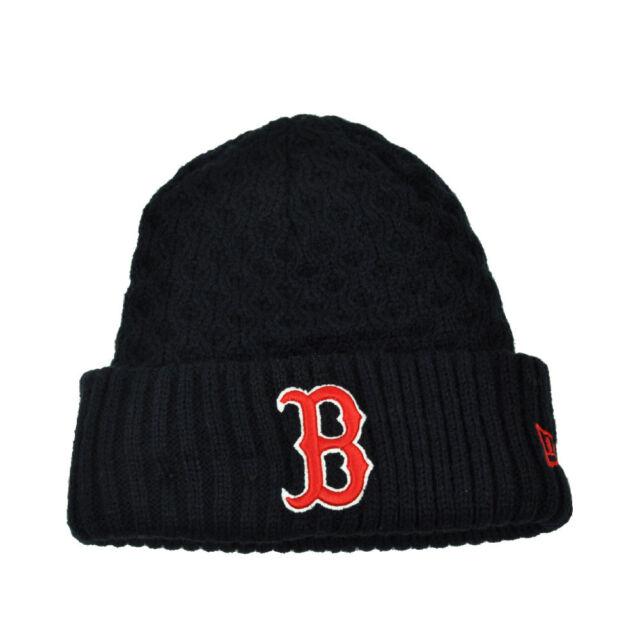 a7f3d178e6442d MLB New Era Cuffed Cutie Boston Red Sox Crochet Womens Knit Beanie Hat Blue