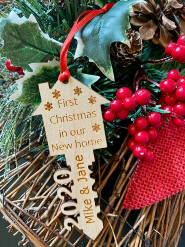 Personalized Our First Christmas in Our New Home 2020 Wood Ornament Realtor Gift