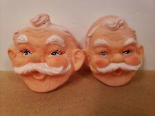 "Lot of 12 VTG 4/"" Celluloid Plastic Santa Claus Doll Masks Faces Christmas Crafts"
