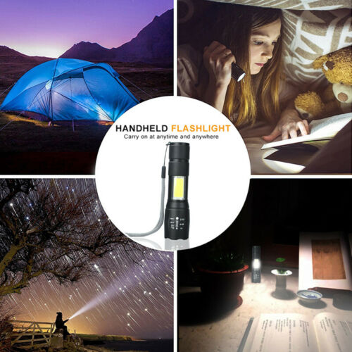Portable T6 COB LED Tactical USB Rechargeable Flashlight Torch Lighting Lamp