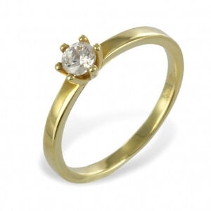 Verlobungsring Antragsring Echt Gold 333 8 Kt Solitär Frauen Ring mit Zirkonia