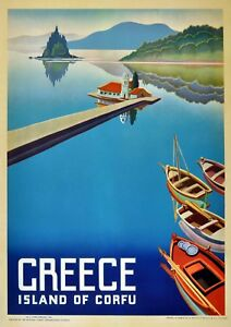"Home Wall Art /""Greece/"" Reproduction Vintage Seaside Poster"