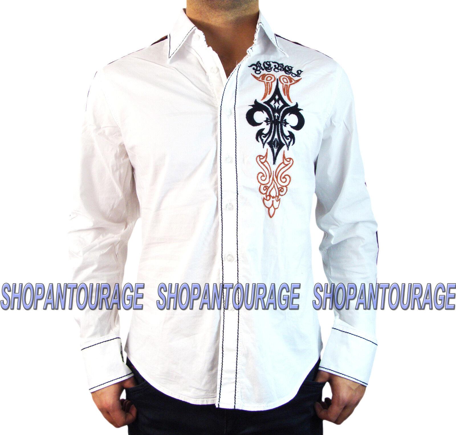 Rebel Spirit LSW151778 Men`s New Weiß Button Down Long Sleeve Casual Shirt