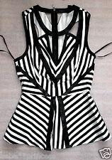 NWT bebe black white cutout contrast striped sexy party peplum dress top XS 0 2