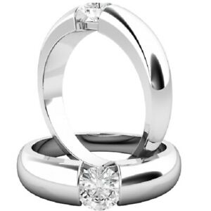 0.25 Ct Round Cut Moissanite Engagement Bridal Ring 18K Solid White Gold Size 4