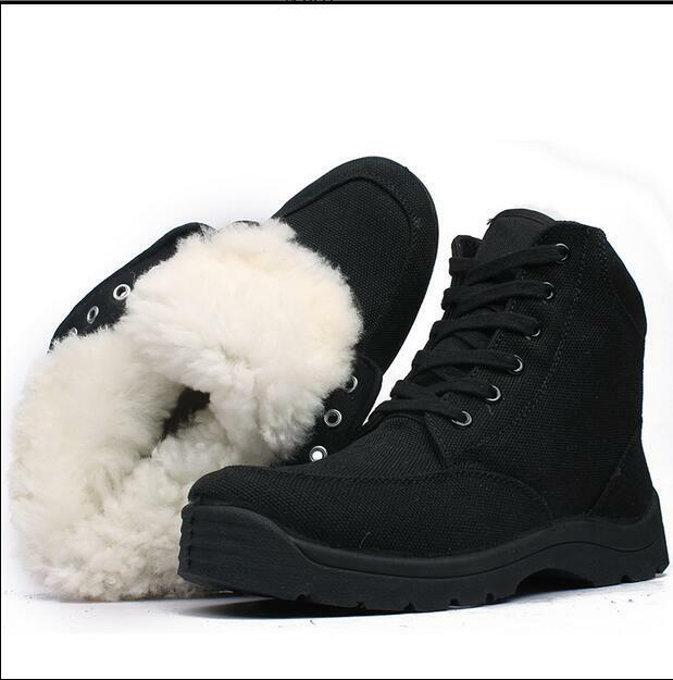 Fur Lining Military Canvas Mens Watm Winter Lace Up Ankle Boots shoes Casual New