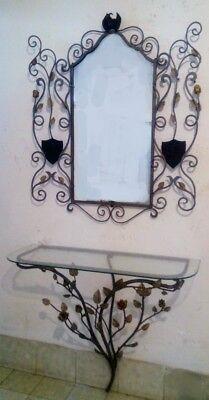 Consolle In Ferro Battuto Con Specchio.Consolle Con Specchio In Ferro Pieno Forgiato E Battuto A Mano Mod Elly Ebay